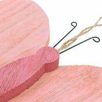 Mariposa para colgar madera rosa 13cm x 22cm 2pcs