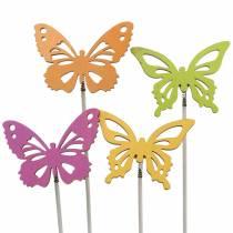 Tachuelas de flores madera de mariposas 7x5.5cm 12pcs surtidos