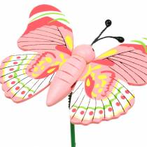 Alfiler flor mariposa madera surtido 7.5cm 16pcs