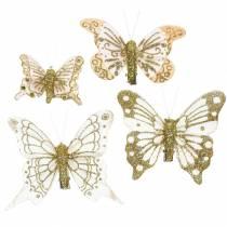 Pluma mariposa en clip oro brillo 10 piezas