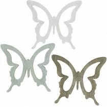 Mariposa para espolvorear 4cm marrón, gris claro, blanco Decoración de madera para aspersión de verano 72pcs