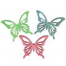 Mariposas Mezclan Madera Rosa, Verde, Azul 4cm 72pcs
