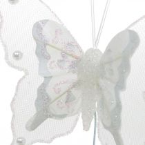 Mariposas con perlas y mica, adornos de boda, mariposas de plumas sobre alambre blanco