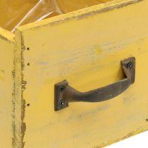 Cajón decorativo macetero vintage madera amarillo 12,5 × 12,5 × 11cm
