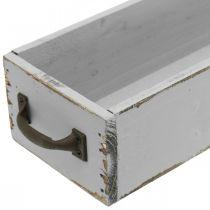 Bandeja decorativa cajón de madera para plantas Shabby Chic gris 65 × 11 × 7cm