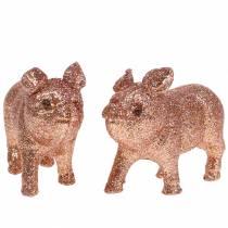 Cerdos deco Rosa con brillo 10cm 8pcs