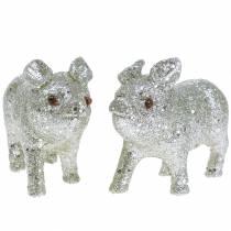 Cerdos deco Plata con brillo 10cm 8pcs