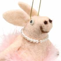 Cerdo para colgar rosa claro 13cm
