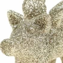 Cerdo para decoración con alas Oro con brillo 6cm