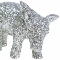 Cerdo decorativo Decoración de Año Nuevo plateado brillo 3.5cm 2pcs