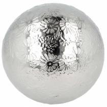 Bola flotante flores metal plateado Ø10cm