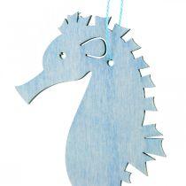 Caballito de mar para colgar percha azul, blanca decoración marítima 8pcs