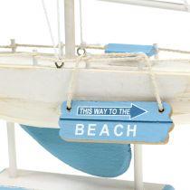 Velero Deco en madera azul, blanco H41,5cm