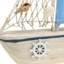 Velero decorativo madera azul blanco natural 20x4cm H30cm