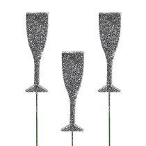 Copa de champán sobre varilla Plata con lentejuelas 8cm L28cm 24pcs