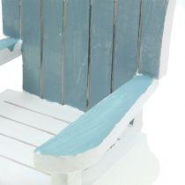 Silla decorativa de madera blanco-turquesa-gris Al. 16cm