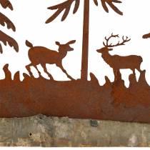 Silueta de bosque con animales de acero inoxidable sobre base de madera 30cm x 19cm