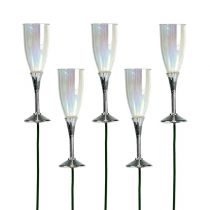 Deco de Año Nuevo Copa de champán sobre varilla Plata 7,5cm L27cm 12pcs