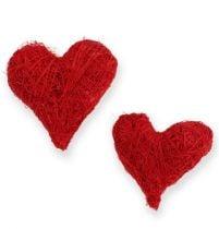 Corazones de sisal 5-6 cm rojo 24pcs