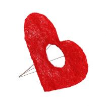 Brazalete corazón de sisal rojo 15cm 10ud.