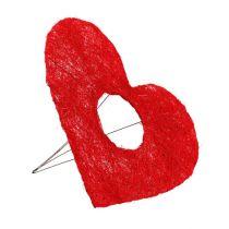 Manguito de corazón de sisal 20 cm corazón rojo decoración de flores de sisal 10 piezas