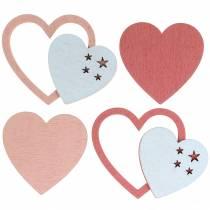 Decoración para controlar corazón rosa / blanco 24p