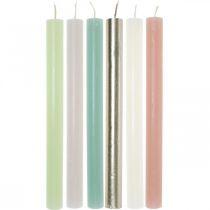 Velas cónicas coloreadas a través de diferentes colores 21 × 240 mm 12 piezas