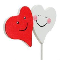 Doble Corazón Rojo, Blanco 8cm x 5cm 12pcs