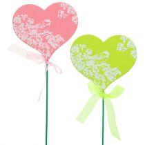 Tapón de corazón rosa, verde 8.5cm x 7.5cm 12pcs