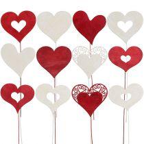 Tapón de flores corazón rojo, blanco 7,5-8,5cm L30cm 12pcs
