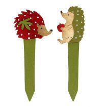 Enchufe erizo rojo, verde 13cm 16pcs