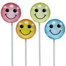 Deko smiley en el palo colores surtidos 3,5cm 8pcs
