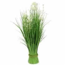 Ramo de pie deco ramo con flores del prado verde, blanco artificial 51cm