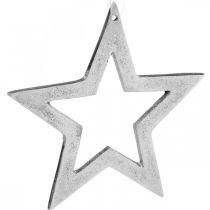 Estrella para colgar decoración navideña de aluminio plateado 15,5 × 15cm