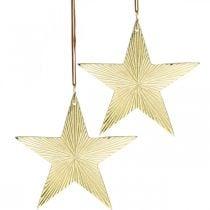 Estrella de oro, decoración de Adviento, colgante de decoración para Navidad 12 × 13cm 2 piezas
