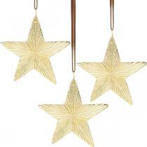 Estrellas para colgar, adornos de metal, adornos para árboles de Navidad dorados 9,5 × 9,5cm 3ud