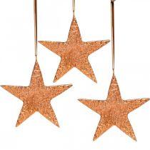 Estrella decorativa para colgar, decoración de Adviento, colgantes de metal color cobre 12 × 13cm 3ud