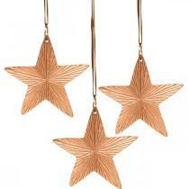 Colgante estrella, decoración navideña, decoración de metal cobre 9,5 × 9,5 cm 3 piezas