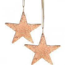 Estrella de cobre para colgar, decoración árbol de Navidad, colgantes de metal 8 × 9cm 2ud