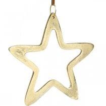 Colgante navideño, estrella decorativa para Adviento, estrella decorativa dorada 14 × 14cm