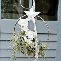 Estrella para colgar, adornos para árboles de Navidad, adorno de metal blanco 19,5 × 18,5cm