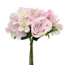 Ramo rosa con perlas 29cm