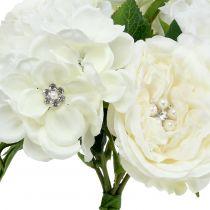 Deco bouquet blanco con perlas y pedrería 29cm
