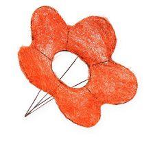 Puños de flor de sisal naranja Ø25cm 6pcs