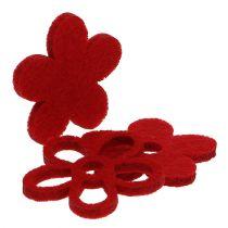 Litter-Deco fieltro flor roja clasificada en la mezcla Ø4cm 72pcs