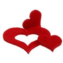 Litter-Deko corazón fieltro 2,5cm - 5cm Rojo 24pcs