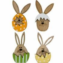 Conejito de decoración de arena en huevo, decoración de regalo, huevo de conejito para decorar, decoración de madera para pegar en 12 piezas