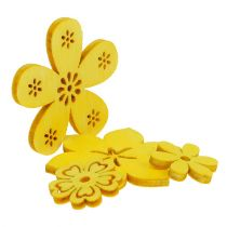 Decoración para controlar Flor de madera Amarillo 2cm - 4cm 96pcs