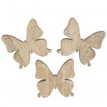 Decoración dispersa mariposa madera naturaleza 2cm 144p