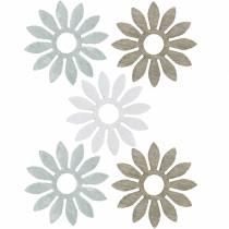 decoracíones para esparcir flor marrón, gris claro, flores blancas de madera para esparcir 144p